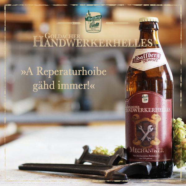Hallbergmooser-Brauspezialitaeten-Shop-Goldacher-Handwerkerhelles-Mechaniker-Spruch